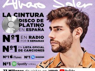 Alvaro's top hit La Cintura is Platinum now in Spain! And Alvaro is the absolute number one in S