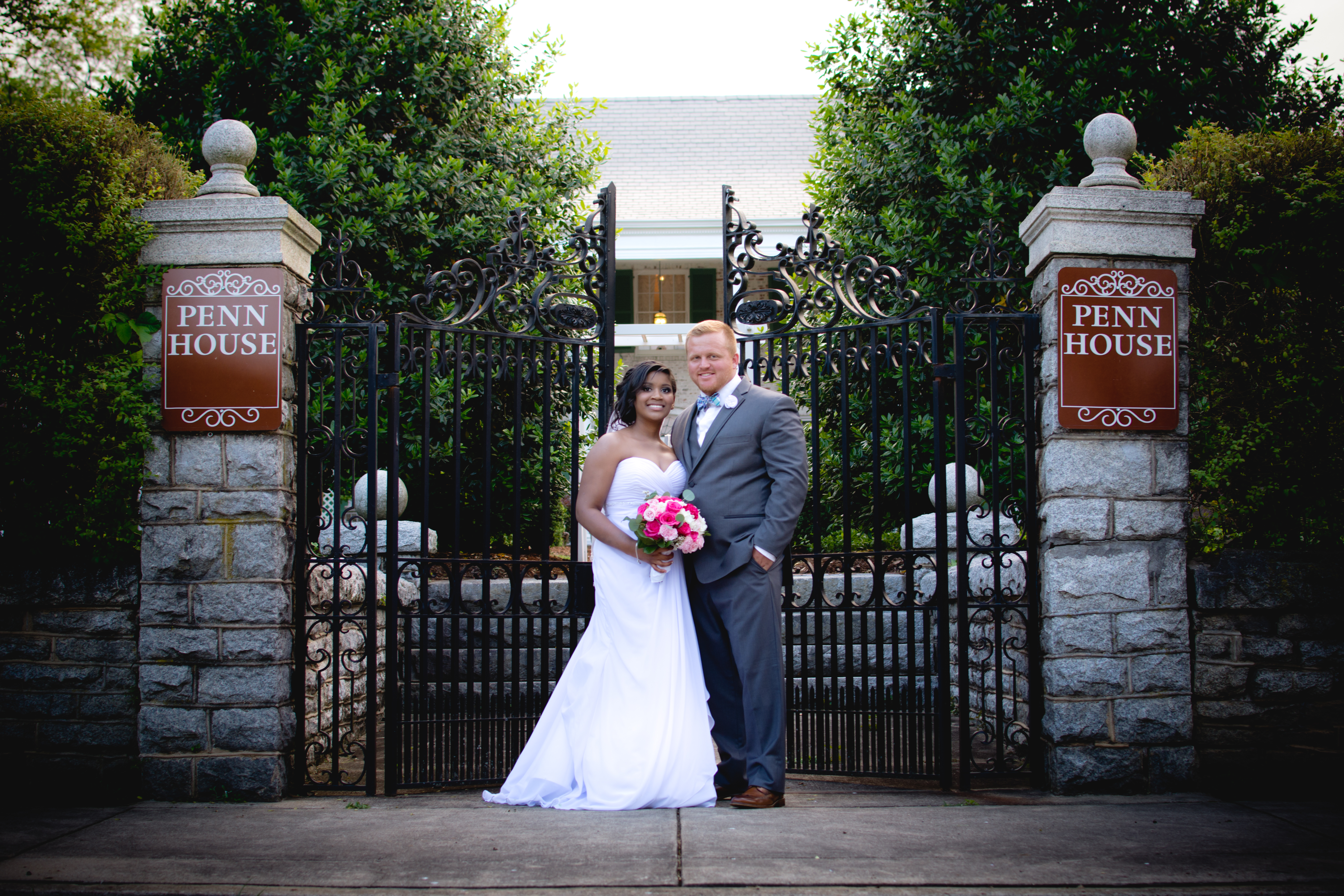 Bride and Groom at Penn House Gate