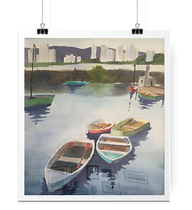 Watercolor of boats in the bay