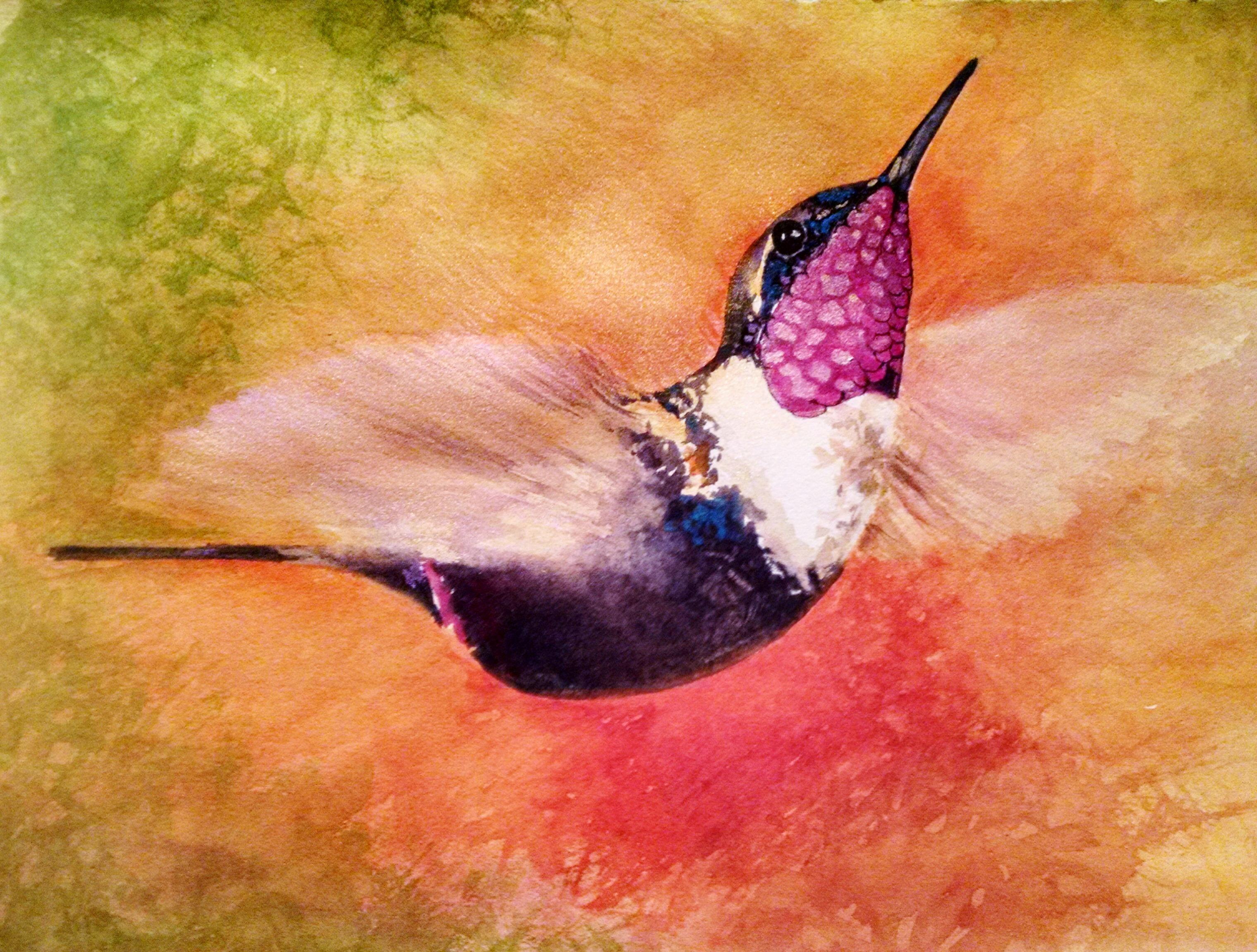 Donna Humming Bird Watercolor