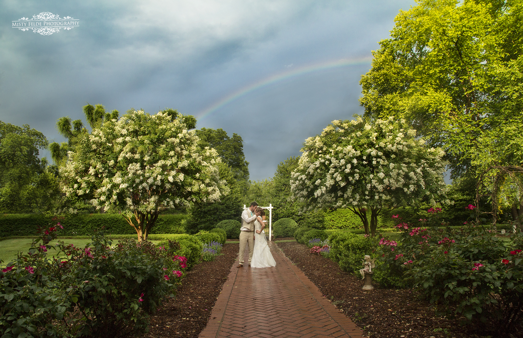 Bride and Groom with Rainbow