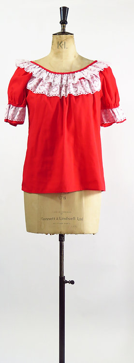 1950s Red Ranch Wear Blouse