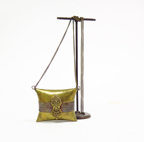 1920s Deco Brass Metal Pillow Purse