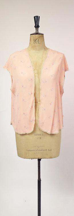 Vintage 1930s Deco Pink Floral Silk Blouse / Bed Jacket