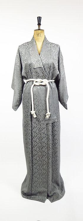 Vintage Silver Grey Silk Jacquard Flying Cranes Kimono