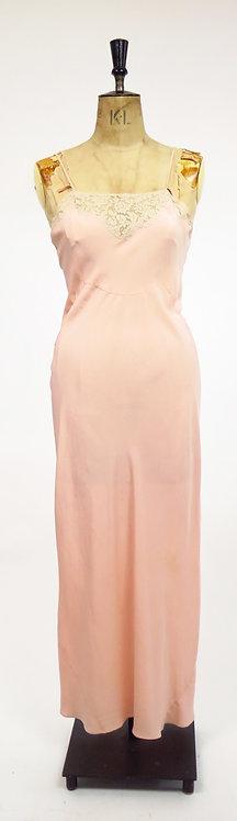 1930s Deco Pink Silk Slip Dress