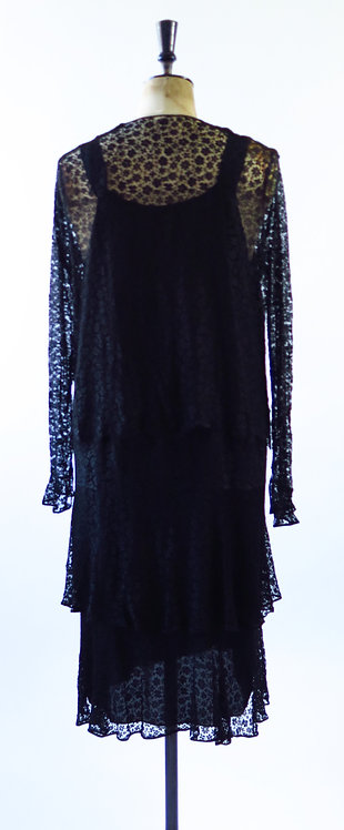 1920s Art Deco Lace Wrap Dress