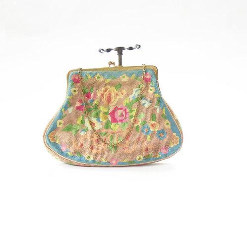 1940-50s Petit Point Embroidered Handbag