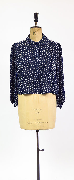 1940s Navy Floral Patterned Blouse
