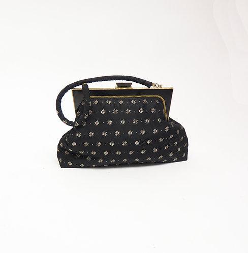 Vintage 1950s Floral Satin Handbag