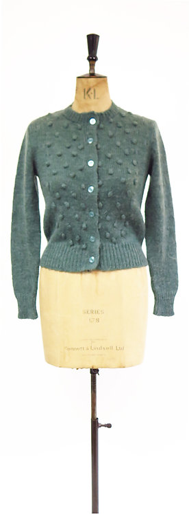 1980s Does The 40s Aqua Green Bobble Knitted Cardigan