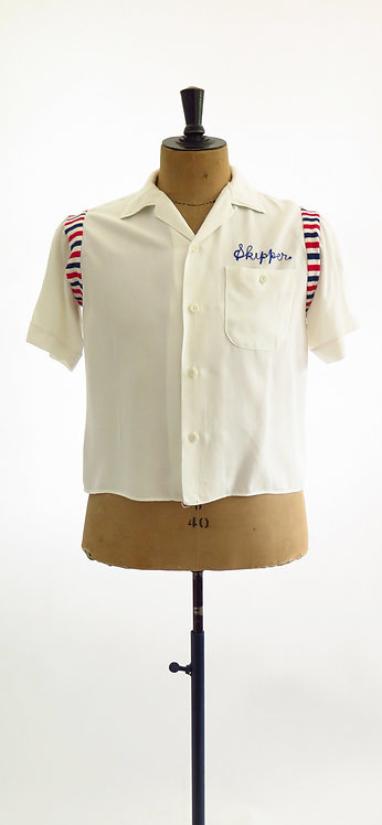 "Original Vintage 1950s ""Skipper"" White Bowling Shirt"