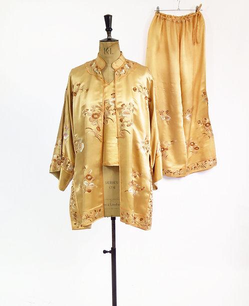 1920s Embroidered Silk 3 Piece Set