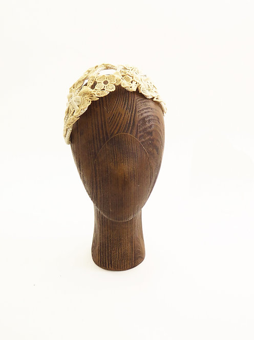 Original 1940s Lace Wedding Fascinator Half Hat