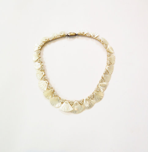 1920s  Deco Hand Carved Mother Of Pearl Necklace