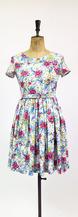 1950s Floral Belted Day Dress