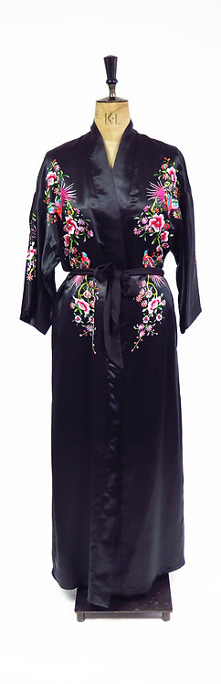 1980s Black Satin Floral Embroidered Dressing Gown Robe