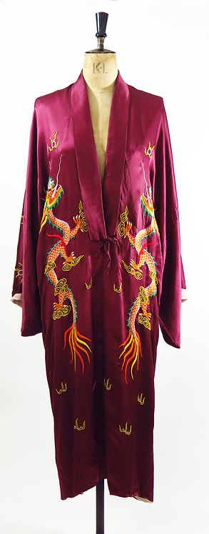 1940-50s Dragon Embroidered Silk Robe