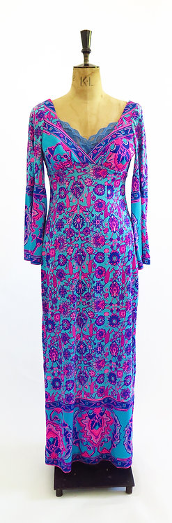 Vintage 1970s Neon Patterned With Trumpet Sleeves Dress
