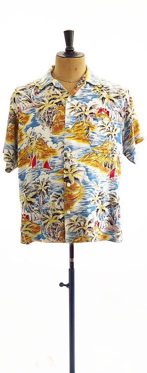 "1950s""Aloha Shirts"" Hand Screened Hawaiian Shirt - XL"