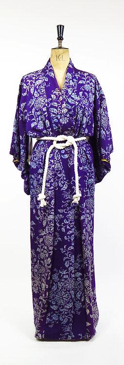 Vintage 1940-50s Purple And Gold Floral Silk Kimono