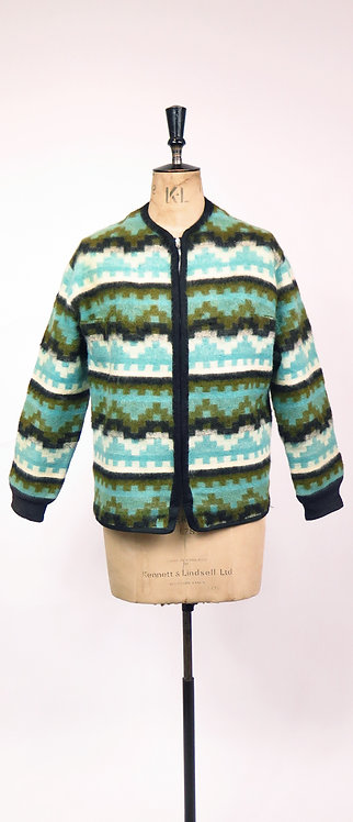 Vintage 1950s Navajo Style Turquoise Patterned Wool Jacket