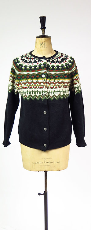 1950s Almost Black Patterned Knitted Cardigan