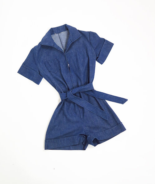 Vintage 1970s Indigo Denim Playsuit
