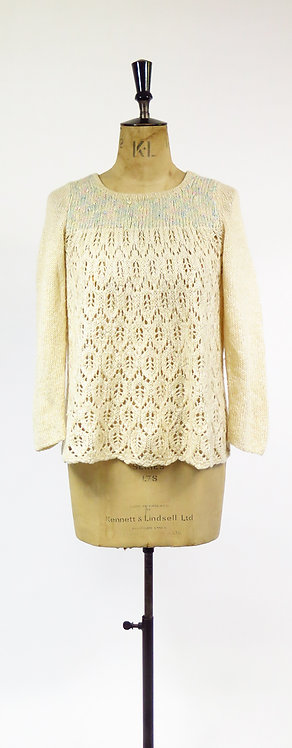 Vintage 1970s Cream And Blue Melange Lace Hand Knitted Jumper