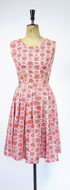 1950s Handmade In Sweden Novelty Print Dress