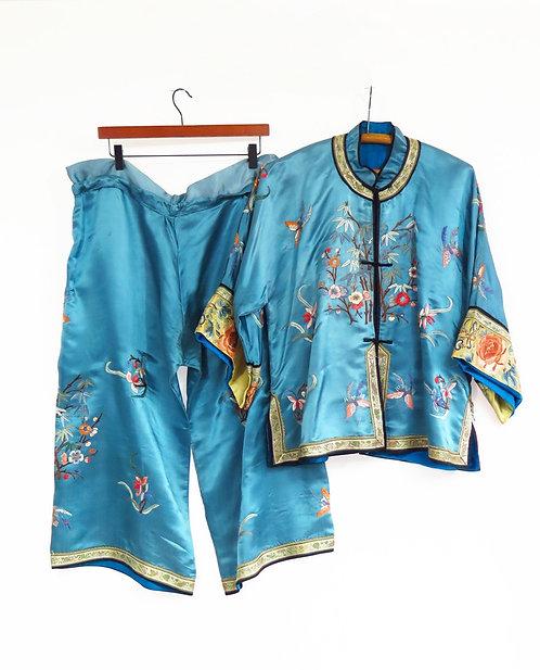 RARE 1920s Silk Hand Embroidered Samfu Set
