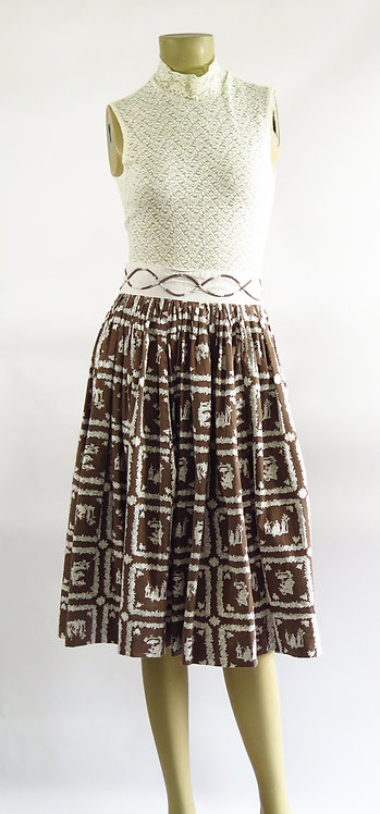 1950s Brown And White Skirt