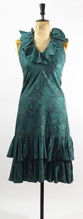 1970's Aqua Patterned Ra-Ra Dress