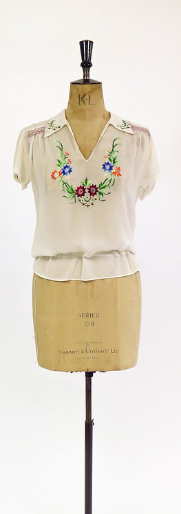 Vintage 1920s Hungarian Style Deco Embroidered Hand Smocked Peasant Blouse