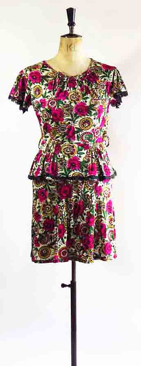 1970s Does The 40s Rose Dress with Peplum