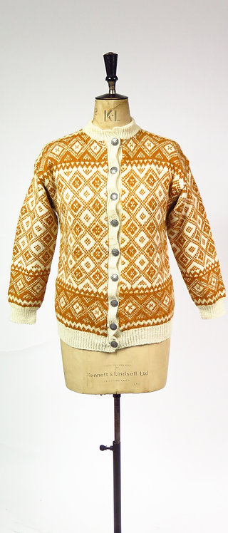 1970s Hand Knitted Patterned Wool Cardigan