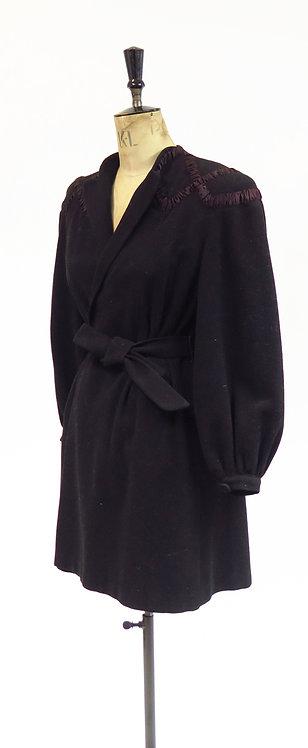 Vintage 1930s 1940s Black Tailored Coat