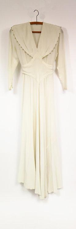 1940s French Ivory Silk Wedding Dress / Dress