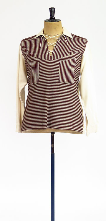 1950s Brown And Cream Shirt