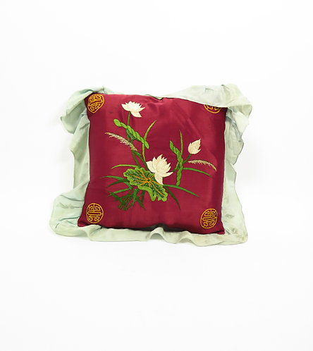 1940s Japanese Hand Embroidered Silk Cushion