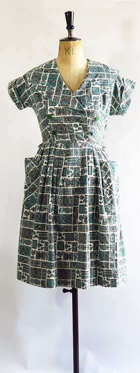 1950s Blue Patterned Day Dress