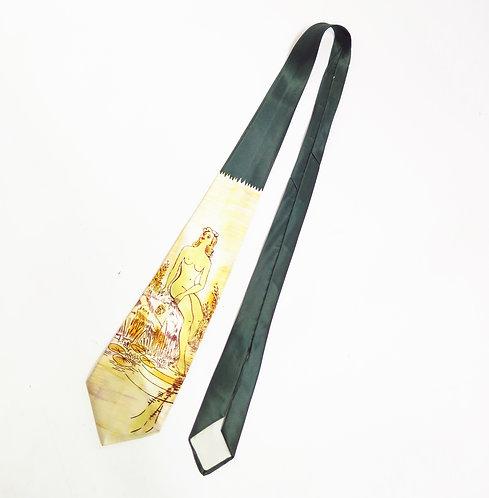 1950s Nude Printed Satin Tie