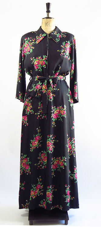 1940s Floral House Robe Gown