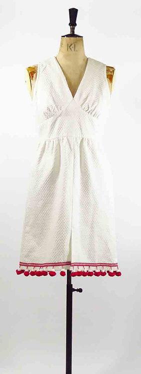 1960s White Pom Pom Dress