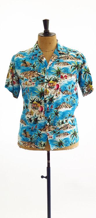 "1950s""Aloha Shirts"" Hand Screened Hawaiian Shirt"