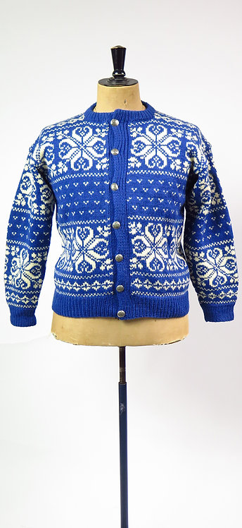 Vintage 1960s-70s Blue And White Norwegian Hand Knitted Cardigan