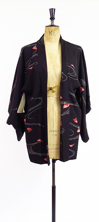 Folding Fans Print Haori Kimono Jacket