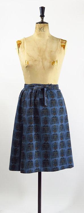 1950s Blue Patterned Wrap Skirt