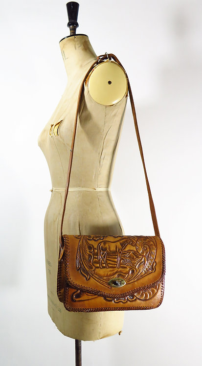 1970's Mexican Tooled Leather Bag