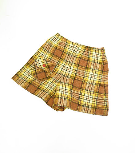1960-70s Glenbrooke Jnr Beige And Yellow Checked Shorts